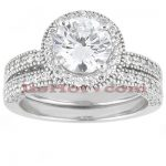 18K Gold Round Diamond Engagement Ring Set 1.70ct