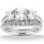 18K Gold Round Diamond Engagement Ring Set 1.75ct