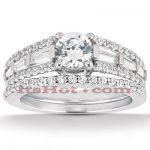 18K Gold Round Diamond Engagement Ring Set 1.81ct