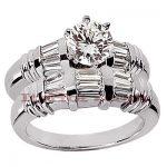 18K Gold Round Diamond Engagement Ring Set 1.92ct
