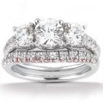 18K Gold Round Diamond Engagement Ring Set 1.95ct