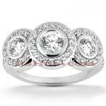 18K Gold Round Diamond Engagement Ring Set 2.03ct