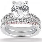 18K Gold Round Diamond Engagement Ring Set 2.40ct