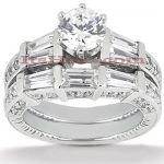 18K Gold Round Diamond Engagement Ring Set 2.57ct