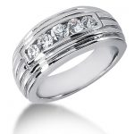18K Gold Round Diamond Men's Wedding Ring 0.36ct