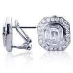 18K Gold Unique Designer Diamond Earrings Studs 2.04ct by Luccello