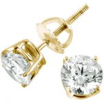 2 Carat Round Diamond Stud Earrings 14K Yellow Gold