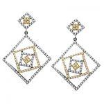 2 Tone 18K Gold Diamond Designer Earrings 3.05ct
