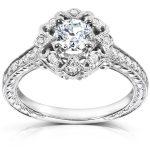 Antique Diamond Engagement Ring 1/2 carat (ctw) in 14k White Gold