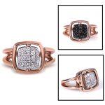 Reversible Black and White Diamond Fashion Ring 1/2 carat (ctw) in 14k Rose Gold