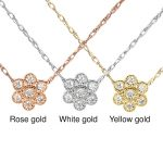 Mini Diamond Floral Pendant in 14K Gold with Chain