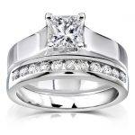 Princess Cut Diamond Bridal Set 1 Carat (ctw) in 14k White Gold