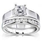 Princess Cut Diamond Bridal Set 4/5 Carat (ctw) in 14K White Gold