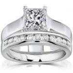 Princess Cut Diamond Bridal Set 1 1/3 Carat (ctw) in 14K White Gold