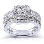 Princess-cut Diamond Bridal Ring Set 1 2/5 Carat (ctw) in 14k White Gold