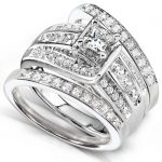 Princess Diamond Wedding Ring Set 1 1/10 Carat (ctw) in 14K White Gold (3 Piece Set)