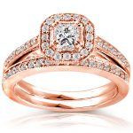 Princess Diamond Wedding Set 5/8 Carat (ctw) in 14K Rose Gold