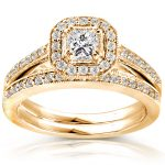 Princess Diamond Wedding Set 5/8 Carat (ctw) in 14K Yellow Gold