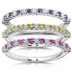 Stackable Sapphire and Diamond Bands 3/4 carat (ctw) in 14k White Gold (3 Piece Set)