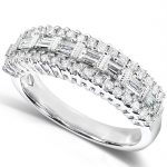 Round and Baguette Cut Diamond Band 5/8 carat (ctw) in 14K White Gold