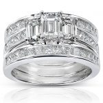Diamond Engagement Ring and Wedding Band Set 2 1/2 carat (ctw) in 14k White Gold (3 Piece Set)