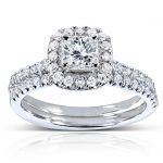 Princess-cut Diamond Bridal Ring Set 7/8 Carat (ctw) in 14k White Gold