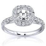 Asscher Cut Diamond Engagement Ring 1 2/5 Carat (ctw) in 14K White Gold (Certified)
