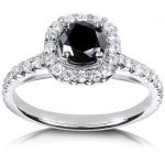 Black and White Diamond Engagement Ring 1 1/6 carat (ctw) in 14k White Gold
