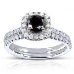 Round-cut Black and White Diamond Bridal Ring Set 7/8 Carat (ctw) in 14k White Gold
