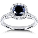 Blue Sapphire and Diamond Halo Ring 1 3/5 CTW in 14k White Gold