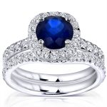 Bright Blue Sapphire and Diamond Halo Bridal Set 1 7/8 CTW in 14k White Gold (GH/SI)