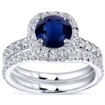 Blue Sapphire and Diamond Halo Bridal Set 1 7/8 CTW in 14k White Gold (HI/I1-I2)