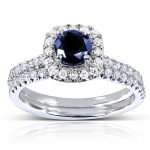 Blue Sapphire and Diamond Halo Bridal Set 7/8 CTW in 14k White Gold