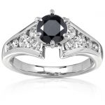 Black and White Diamond Engagement Ring 1 1/2 carat (ctw) in 14k White Gold