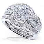 Round Brilliant Diamond Cluster Wedding Set 1 Carat (ctw) in 14K White Gold (3-Ring Set)