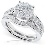 Round Brilliant Cluster Diamond Bridal Set 7/8 carat (ctw) in 14k White Gold