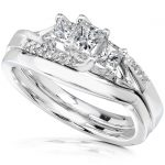 Diamond Wedding Set 1/2 carat (ctw) in 18k White Gold