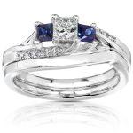 Diamond and Sapphire Bridal Set 3/5 Carat (ctw) in 14K White Gold