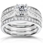 Round-Brilliant Diamond Bridal Set 1 carat (ctw) in 14k White Gold (3 Piece Set)