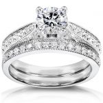 Diamond Wedding Set 1 1/3 carat (ctw) in 14k White Gold (Certified)