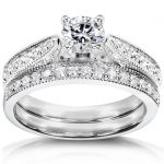 Diamond Wedding Set 4/5 carat (ctw) in 14k White Gold