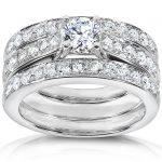Round Brilliant Cut Diamond Bridal Set 1 1/3 Carat (ctw) in 14K White Gold