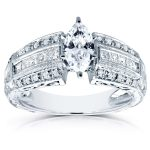Marquise Diamond Engagement Ring 1 3/5 CTW in 14k White Gold (Certified)
