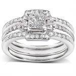 Diamond Engagement Ring and Wedding Band Set 1/2 carat (ctw) in 14k White Gold (3 Piece Set)