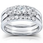 Diamond Engagement Ring and Wedding Band Set 1 carat (ctw) in 14k White Gold (3 Piece Set)