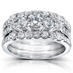 Diamond Engagement Ring and Wedding Band Set 1 1/3 carat (ctw) in 14k White Gold (3 Piece Set)