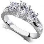 Round Brilliant Three Stone Diamond Engagement Ring 2 carats (ctw) in 14k White Gold