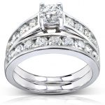 Round-cut Diamond Bridal Ring Set Ring 2 Carat (ctw) in 14k White Gold