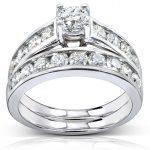 Round-cut Diamond Bridal Ring Set Ring 2 Carat (ctw) in 14k Yellow Gold