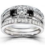 Three Stone Round Black and White Diamond Bridal Set 1 Carat (ctw) in 14k White Gold (3 Piece Set)